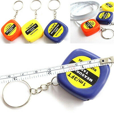 2x Small Portable Keychain Key Ring Easy Retractable Tape Measure Ruler 1m Fw • 1.78£
