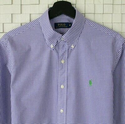 Mens Polo Ralph Lauren Regular Classic Fit Gingham Purple Check Shirt UK Medium • 29.99£