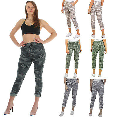 Ladies Camo Cargo Bottoms Pants Magic Stretch Army Print Trousers Jeggings Size • 18.93£