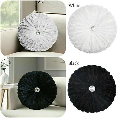New Crushed Velvet Round Cushion Filled Small & Large Stitched With Diamond  • 14.99£