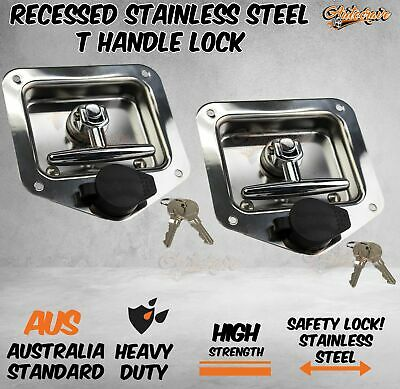 AU34.95 • Buy 2x T LOCK T HANDLE LOCK RECESSED ZINC TRAILER CARAVAN CANOPY TOOLBOX FLUSH MOUNT