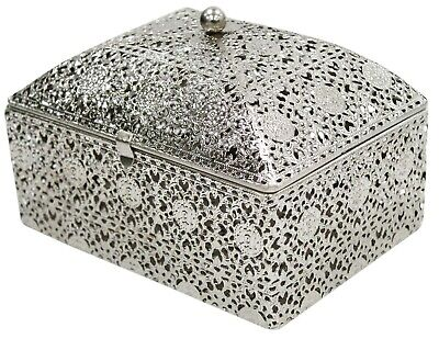 Antique Looking Chest Silver Trinket Jewellery Box Jewelry Storage Chest Large • 21.99£