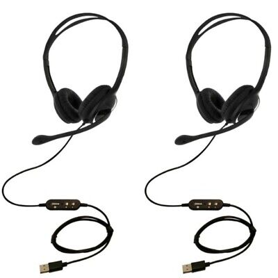 2 X USB Headset With Microphone Noise Cancelling Skype Zoom Eartec Office 150D  • 37.95£