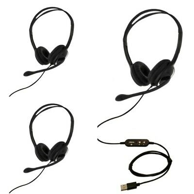 3 X USB Headset With Microphone Noise Cancelling Skype Zoom Eartec Office 150D  • 58.95£