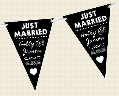 Personalised Chalkboard Bunting- Just Married D2 Banner Decoration Wedding Black • 5.95£