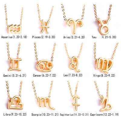 Necklace Zodiac Sign 12 Constellation Gold Color Chain Pendant Birthday Gift UK • 3.29£