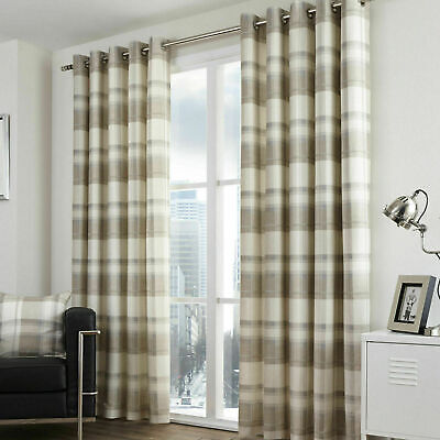 Natural Beige Tartan Check Curtains Balmoral Lined Eyelet Ring Top Curtains Pair • 36.99£