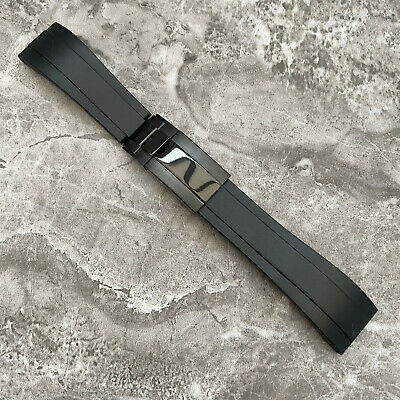 20MM Black Silicone Rubber Watch Strap Band + Black Clasp For Rolex OYSTERFLEX  • 38£