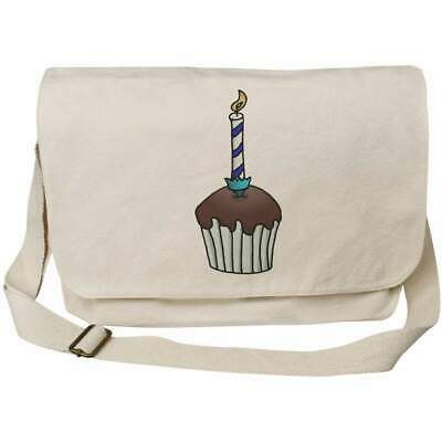 'Candle Cupcake' Cotton Canvas Messenger Bags (MS024983) • 14.99£