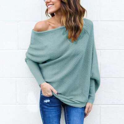 UK Womens Off The Shoulder Chunky Knit Jumper Ladies Oversized Baggy Sweater Top • 11.44£