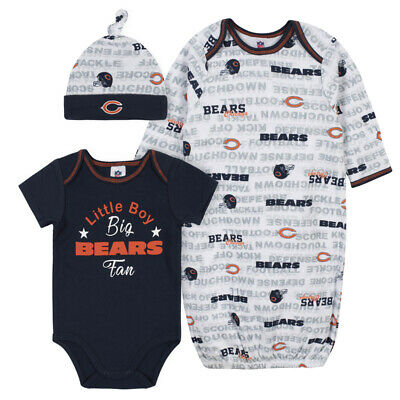 Chicago Bears Baby Onesie Gown & Hat Set 3 Pk - Gerber NFL Newborn 3-6m • 21.61£