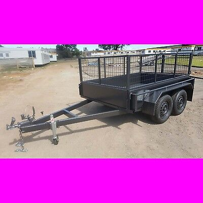 AU2699 • Buy 8x5 Galvanised Tandem Trailer Box Trailer With Cage Aus Made Heavy Duty 10x5