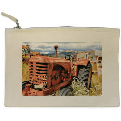 AU17.98 • Buy 'Old Red Tractor' Canvas Clutch Bag / Accessory Case (CL00005762)