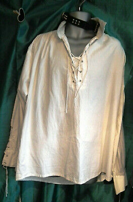 Goth Mans Cheese Cloth Pirate Shirt-ivory-lace-up Neck, And Sleeve Cuffs.size Xl • 39.99£