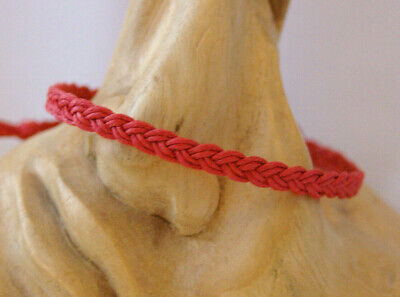 Anklet, Bracelet. Red Waxed Cotton Cord Flat Braided Plait Design. Gift • 3£
