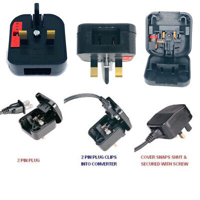 US TO UK Plug Adapter Power USA Japan China 2 Pin To UK 3 Pin Fused Made In UK • 8.49£