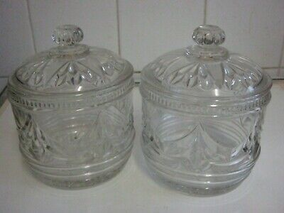 Two Vintage Cut Glass Biscuit/sweet Jars With Lids • 22£