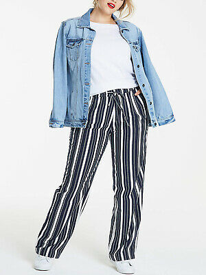 Anthology Navy Linen Blend Striped Easy Care Trousers Size UK 16 L - BNWT • 14.99£