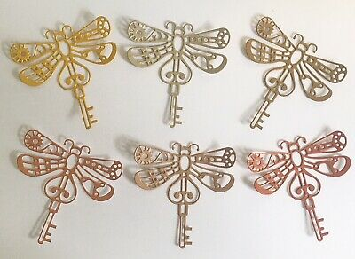 £1.80 • Buy NEW - Large Steampunk Dragonfly Die-Cuts (Gold Mix) Pack Of 6
