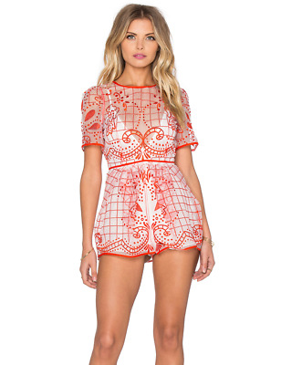 AU100 • Buy Alice McCall Space Is Only Noise Red And White Playsuit Size 8