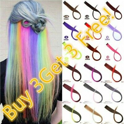 BUY 3 GET 3 FREE Two Tone Rainbow Clip In Highlight Festival Long Hair Extension • 0.99£