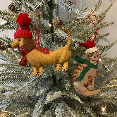 Dachshund Dog Cat Felt Hanging Christmas Tree Decoration Knitted Hat Scarf  • 4.99£