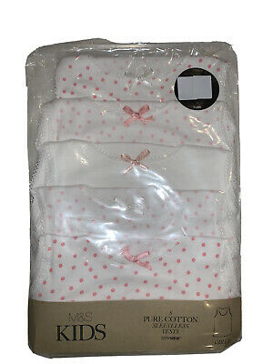 New 5 Pack Girls Pure Cotton Vests Age 4-5 Years Marks & Spencer White Pink Mix • 10.99£