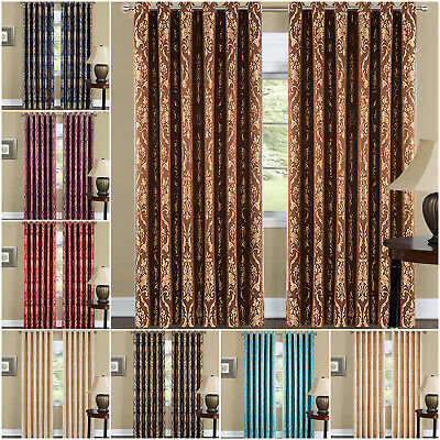 Ring Top Semi Blackout Curtains Fully Lined Bedroom Curtain Pair & Free Tiebacks • 22.99£