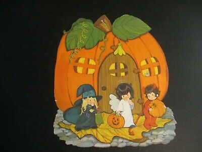 $ CDN19.45 • Buy Vintage Trick Or Treating Witch Devil Angel Halloween Die Cut Decoration
