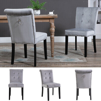 £129.90 • Buy 2x Velvet Dining Chair With Knocker/Ring Back Dining Room Kitchen Chairs Grey