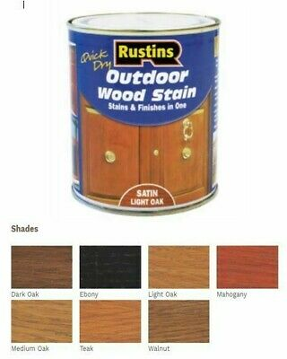 £9.99 • Buy Rustins Quick Dry Outdoor Exterior  Wood Stain Varnish Satin