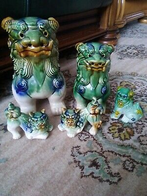 Five (5) Chinese Asian Glazed Ceramic Foo Dogs Statues/ Figurines • 49£