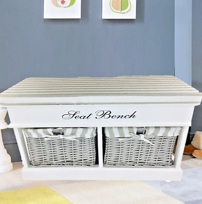 White Wooden Seat Bench With Cushion Storage Trunk Unit With 2 Baskets & Lid 70c • 81.97£