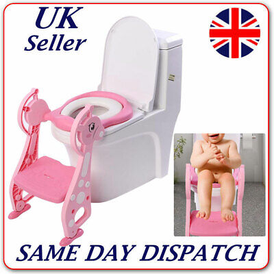 Childrens Toilet Seat & Ladder Toddler Training Step Up For Kids Easy Foldable • 19.51£