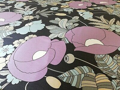 £15 • Buy SANDERSON RETRO 60's 70's  OLDIE Fabric Floral Curtain Poppies Mauve Grey 1.1mt