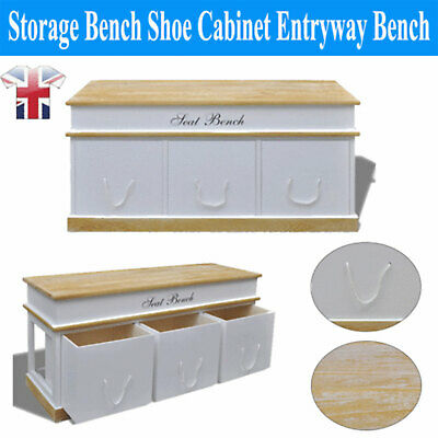 Large Storage Bench Shoe Cabinet Porches Bedroom Closet Solid Wood With 3 Drawer • 117.90£