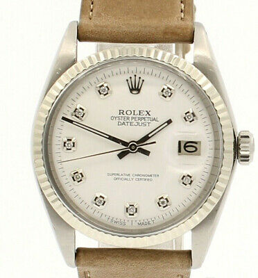 $ CDN6079.79 • Buy Mens Vintage ROLEX Oyster Perpetual Datejust 36mm White Diamond Dial Watch