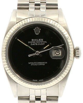 $ CDN6437.10 • Buy Mens Vintage ROLEX Oyster Perpetual Datejust 36mm BLACK Dial Watch