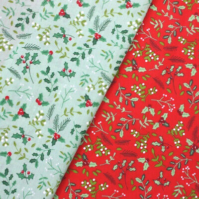 Polycotton Fabric Christmas Holly Berry Berries Leaves Xmas Craft • 4.20£