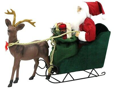 £145.99 • Buy Large Santa On Sleigh With Reindeer Father Christmas Chariot Holding Xmas Gifts