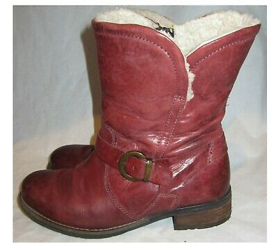 Pavers Burgundy Leather Calf Height Boots, Sheepskin Lined 1  Heels Size 5 Uk • 18.99£