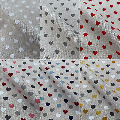 Love Hearts Romance Print Cotton Rich Linen Fabric For Upholstery Crafts Curtain • 5.49£