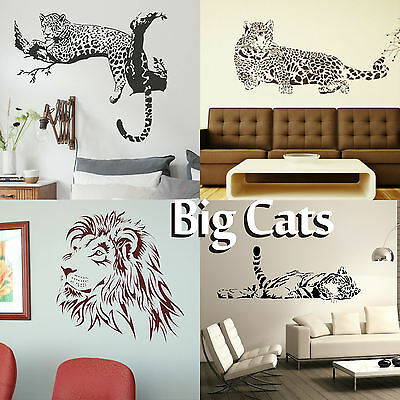 £2.99 • Buy Big Cat Wall Stickers! Transfer Graphic Decal Decor Stencil Large Wild Cats Art