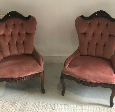 £120 • Buy Two Victorian Mahogany Upholstered / Wood Slipper Chairs