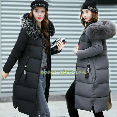 Winter Warm Womens Puffer Fur Long Quilted Parka Ladies Down Coat Hooded Jacket • 21.56£