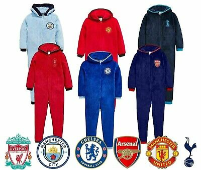 Official Mens Football Club Fleece Hooded All In One Pyjamas Gift Sizes S M L XL • 19.89£