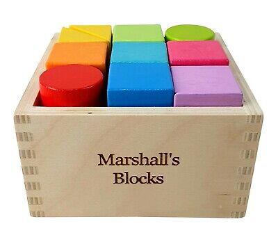 Personalised Engraved Wooden Rainbow Building Blocks Baby Toddler Gift Toy • 9.95£