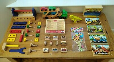 Wooden Toy Bundle Age 3 / 4 + Tool Kit, Vehicles, Stamps, Puzzles Three Year Old • 30£