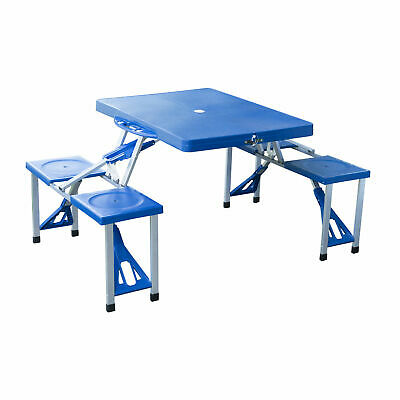 4 Seater Aluminium Portable Picnic Table Foldable Seats Blue Easy Carrying • 51.99£