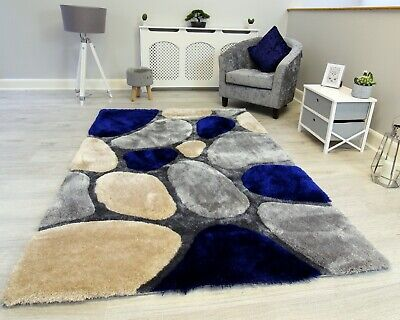 £49.95 • Buy New Navy Grey Silver Beige Thick Pile Pebbles Design Rug Modern Soft Shaggy Mat